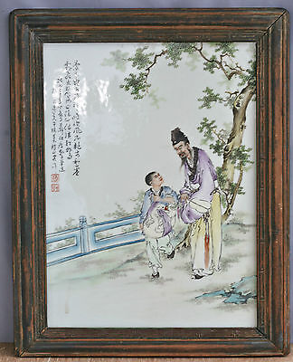 Very Beautiful Antique 1839 Hand Painted Chinese Porcelain Plaque Signed Dated