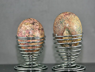 Two Vintage Hand Painted Real Chicken Eggs With Metal Stand Vintage