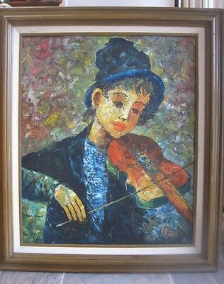 Vintage Framed Oil Canvas Impressionist Painting Boy With Violin Signed Thompson