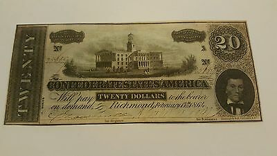 T-67 1864 Confederate States Of America Richmond Virginia 20 Dollars Nice! Look!