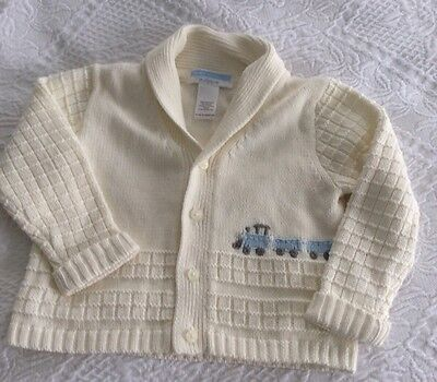 NWT JANIE AND JACK Adorable Cream Cardigan With Train Design 12-18 Months