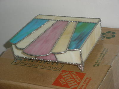 Antique Stained Glass Jewelry Box,mint Condition