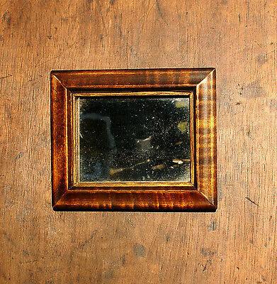 Tiger Maple Mirror Framed Exceptional 1800s Wood Old Wavy Glass Patina Primitive