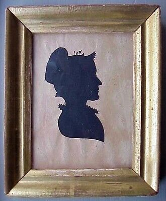 Antique NEW ENGLAND SILHOUETTE of WOMAN in LEMON GOLD FRAME, c. 1800-25