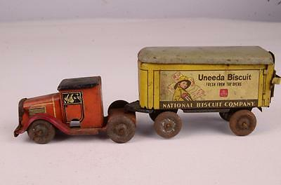 Rare & Early Lindstrom Unida Biscuit Tin Wind Up Truck & Trailer Toy