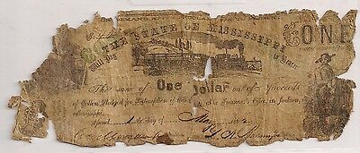 CONFEDERATE STATE Of MISSISSIPPI ONE DOLLAR 1st May, 1862 Civil War Note Jackson