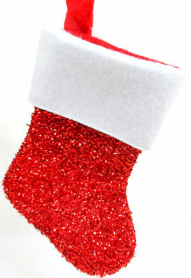 Red and White Sparkly Mini Christmas Stocking Ornament new