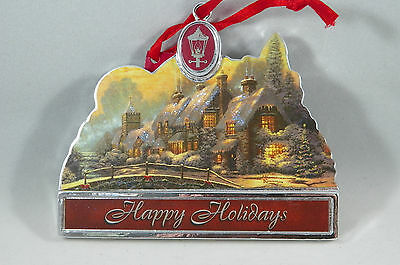 Thomas Kinkade Happy Holidays Cottage Marquee Christmas Tree Ornament new
