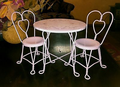 Retired American Girl Sweet Treats Bistro Ice Cream Parlor Pink Table & Chairs