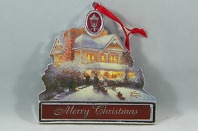 Thomas Kinkade Merry Christmas Cottage Marquee Christmas Tree Ornament new