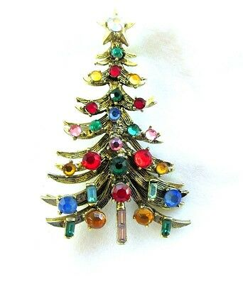 Vintage Hollycraft Multi Color Christmas Tree With Star Brooch Pin