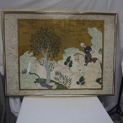 Framed Silk Chinese Turkish Tree of Life Horse Man Gold Mountains Clouds