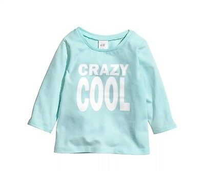 H&M H M Boys T Shirt Top, Crazy Cool, Blue & White, Long Sleeve, Size 3-6 M New