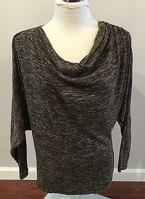 Max Studio Brown Marled Cowl Neck Dolman Sleeve Sweater Size S