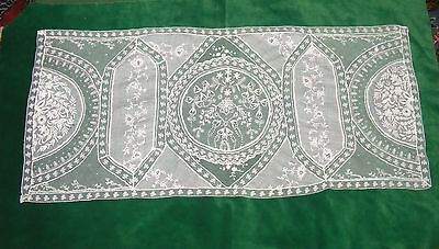 """Antique Normandy Work Lace Runner 36"""" Long Mixed Lace"""