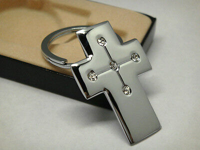 Silver plated holy cross metal charms with four clear diamonte keyring