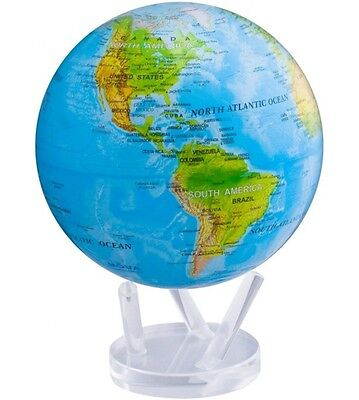"MOVA Globe - Earth - blue relief globe - 11.5 cm 4.5"" - self rotating sphere"