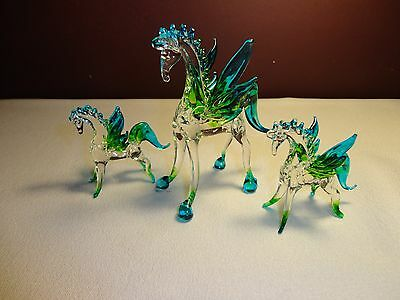 Set of 3 Pegasus Green Blue Clear Figurine of Blown Glass Crystal