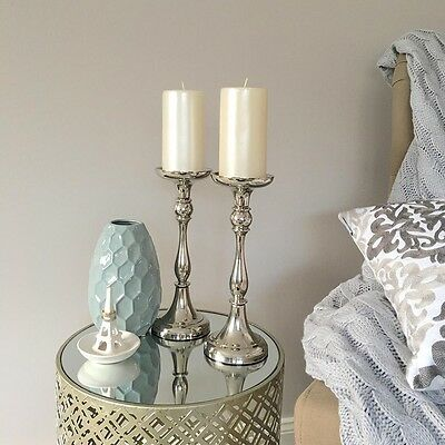 Set of 2 Nickel Candlesticks/Silver Candle Holders/Hampton's French Provincial