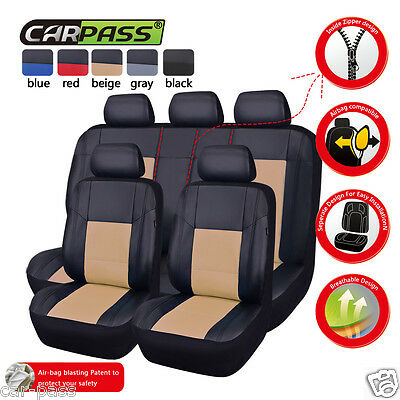 Universal PU Leather Black Beige Car Seat Coves Fit Car Truck SUV Split 40/60 50