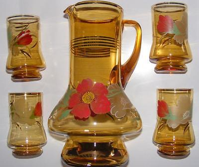 vintage Bohemia glass water set amber gold jug 4 glasses 1950's cordial old