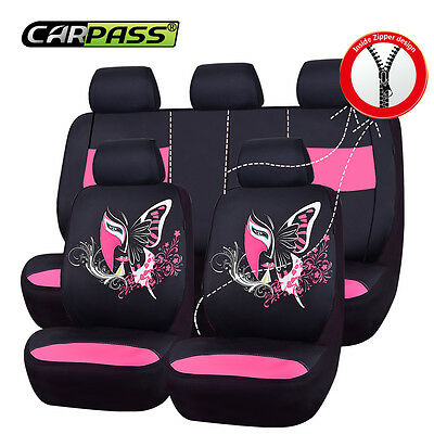 Premium Universal Fit Black Pink China Face Car seat covers 40/60 50/50 Split