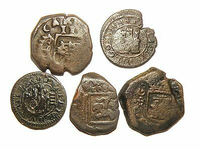 Spanish Cob Colonial 1600's Pirate Coins Antique Crown Collectible Lot Bronze 5