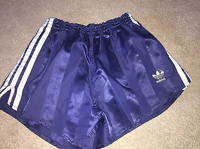 Amazing Vintage Condition Adidas Shiny Satin Sprinter Shorts Blue Medium D6