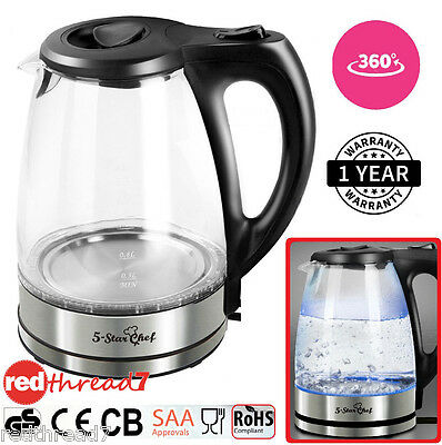 Electric Cordless Stainless Steel Glass Kettle LED Lite Hot Water Jug Black 1.7L