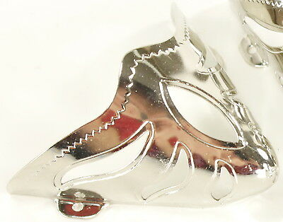 PAIR New! Western Cowboy Boot Tips - Pointed Silver Toe Tips/Caps Pierced