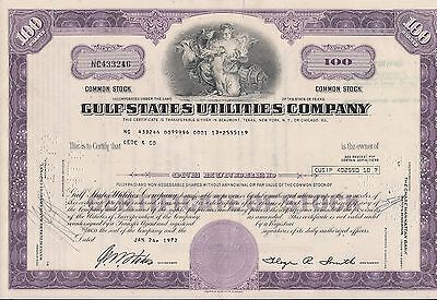 12 different. Stock certificate Gulf States Utilities Company Texas 1960s-1970s