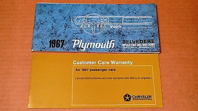 Original Genuine 1967 Plymouth Belvedere Owner's Manual w/ Sleeve and Inserts