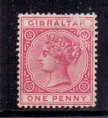 Gibraltar. 1d Rose red Mint QV stamp. Crown CA. Issued 1887