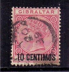 Gibraltar. 10c on 1d Rose surcharged used stamp.1889.