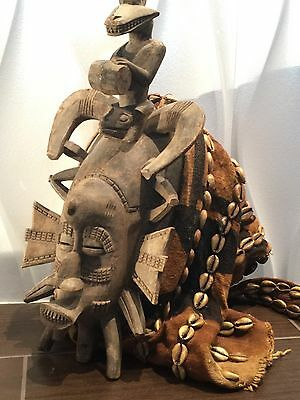 Antique Senufo African Mask With Shells