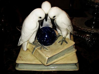 3 Doves Atop Stack Of Books Tv Lamp Signed Werner Wkm Rare!