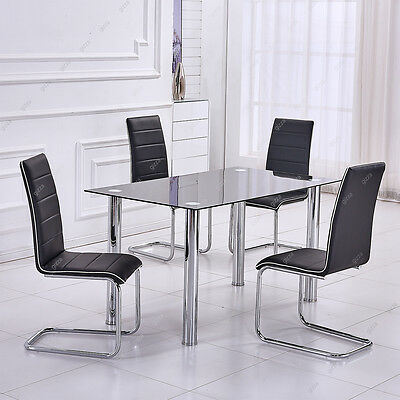 Modern House Dining Table Set Chairs x 4 Chrome Finshed Metal Faux Leather Black