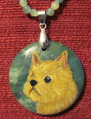 Norwich Terrier hand painted on round green gemstone pendant/bead/necklace