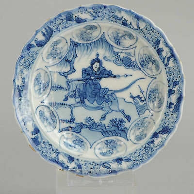 Ca 1700 Kangxi Chinese Porcelain small plate/Saucer Hunter on horse in Landscape