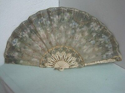 Antique Carved Fan 19th Century with Flowers and Butterflies painted by hand