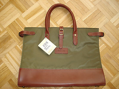 BARBOUR Metallic Leather Briefcase Bag Tote olive - Tasche NWT NEU