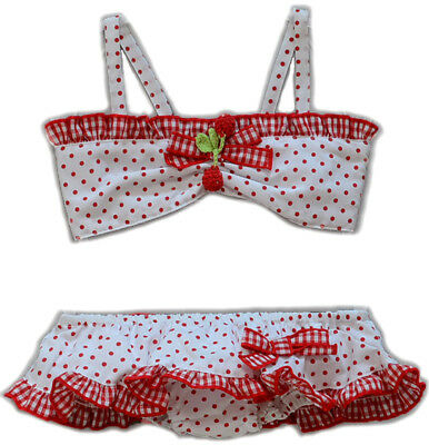 Cute 50s POLKA DOTS Gingham CHERRY Kinder Bikini Rockabilly