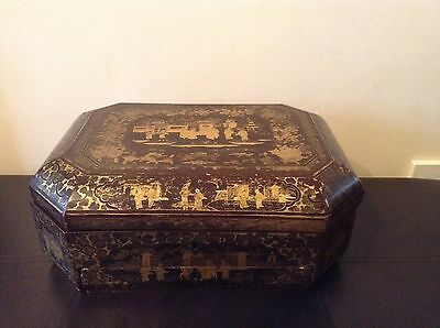 Fine Antique Rare Collectable Chinese Lacquered Wood Sewing Box