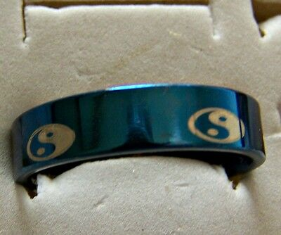 Size:8 ~  Ying_Yang   ~  S/steel  ~ Blue ~ Ring -- (Great_Christmas_Gift)