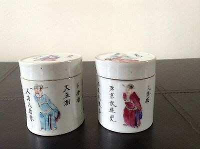 Antique Chinese Famille Rose Republic Period Pair Of Lidded Pots With Figures