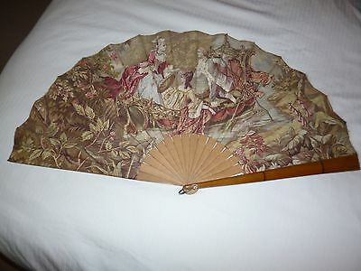 Large vintage fan 70cm - made from fabric and wood