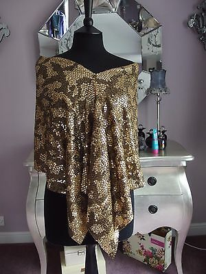 Jaeger Silk Scarf shawl with gold sequins