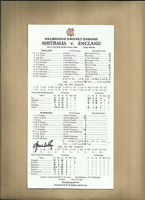 Signed Shane Warne scorecard celebrating 700th Test Wicket at MCG Ashes Match
