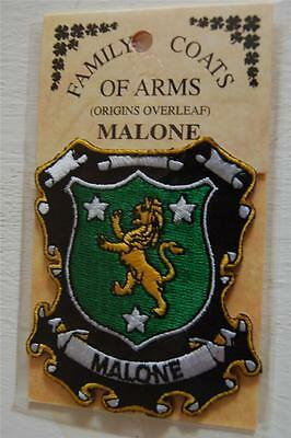 MALONE Embroidered PATCH Coat of Arms Family Crest - Sew or Iron On options