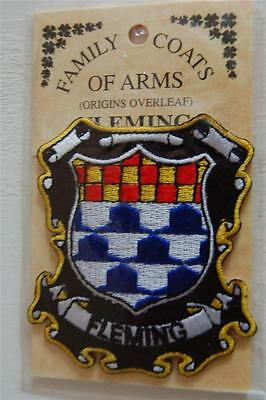 FLEMING Embroidered PATCH Coat of Arms Family Crest - Sew or Iron On
